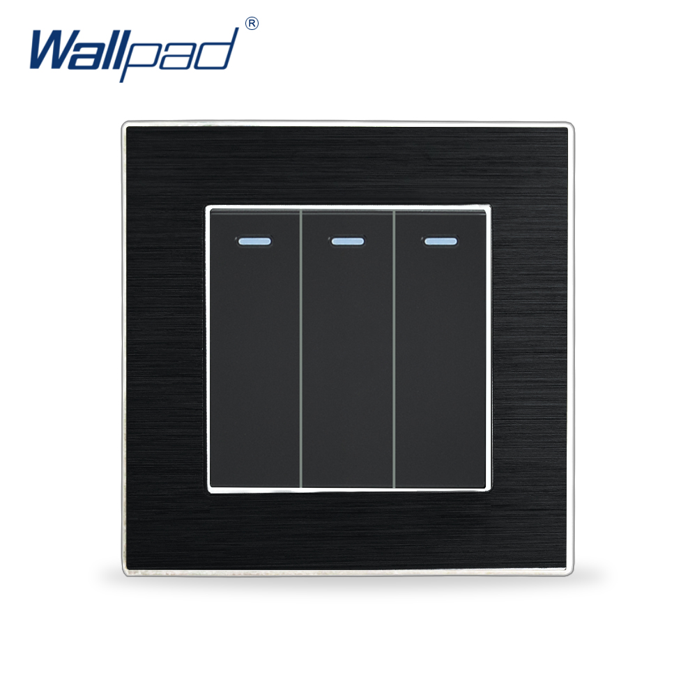 Hot Sales 3 Gang 1 Way Switches Wallpad Luxury Wall Light Switch Fluorescent Light Aluminium Satin Metal Panel Rocker SwitchesHot Sales 3 Gang 1 Way Switches Wallpad Luxury Wall Light Switch Fluorescent Light Aluminium Satin Metal Panel Rocker Switches