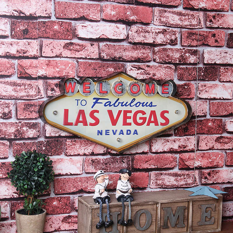 Las Vegas Neon Sign Decorative Painting Metal Plaque Bar Wall Decor Painting Illuminated Plate Welcome Arcade Neon LED Signs