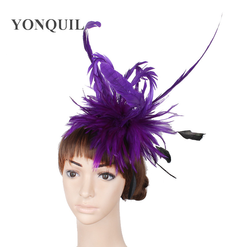№Múltiples colores plumas fascinator sombreros mujeres de la boda ...