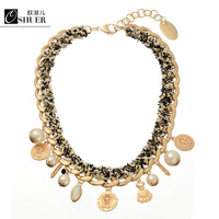 New Brand Rope Chain Simulated Pearl Fashion Gold Plated Choker Necklace Beads Necklaces Pendants Women Jewelry