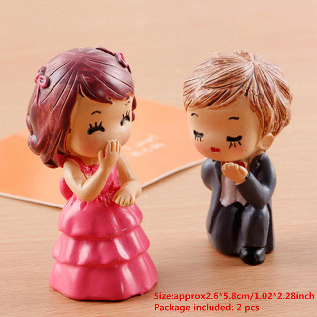1/2PCS Popular Lover Figurines Wedding Doll Miniatures Couple models Fairy Garden home decor baby toy DIY accessories