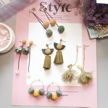 Korean Handmade Flower Balls Tassels Vintage Woman Dangle Drop Earrings Fashion Jewelry Accessories-JQD5 korean handmade cute cartoon rabbit woman hanging dangle drop earrings fashion jewelry accessories jqd5