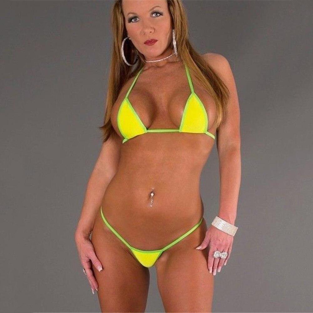 Micro Bikini 2019 Sexy Sling Yellow Triangle Edge Thong Girl Beach Sunbathing Swimwear Women Swimsuit Biquini Bikinis Monokini