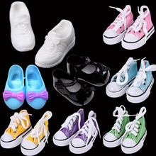 1 Pair Sport White Shoes/Denim Canvas Shoes For Doll Toy Mini Doll Shoes for Baby Doll Boots Dolls Sneackers Accessories Gifts(China)