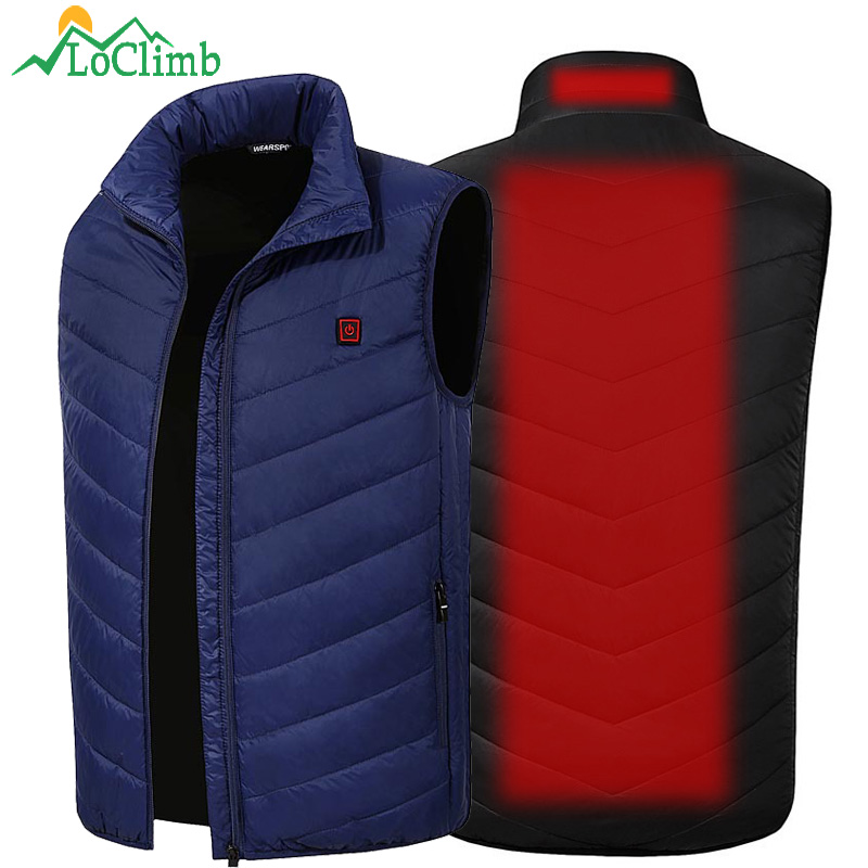 LoClimb Men's USB Heated Vest Men Winter Skiing Heated Jacket Mens Outdoor Hiking Heater Clothes Thermal Self Heating Vest AM356
