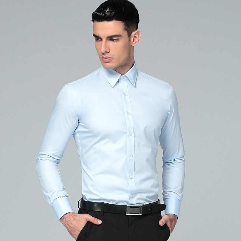 男性のシャツ 2019 ブランド長袖ビジネススーツシャツ固体ブラックレギュラーフィットビジネスメンズドレスシャツカミーサ Masculina