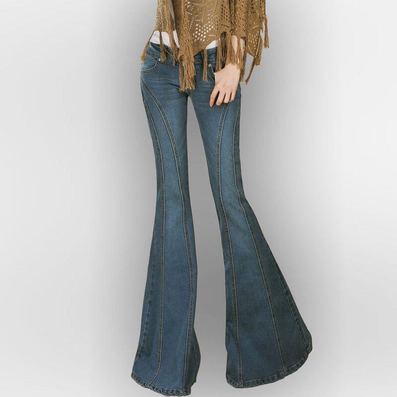 Осенне весенние модные женские черные синие тонкие Стрейчевые расклешенные джинсовые брюки, повседневные зимние эластичные джинсы для жен...