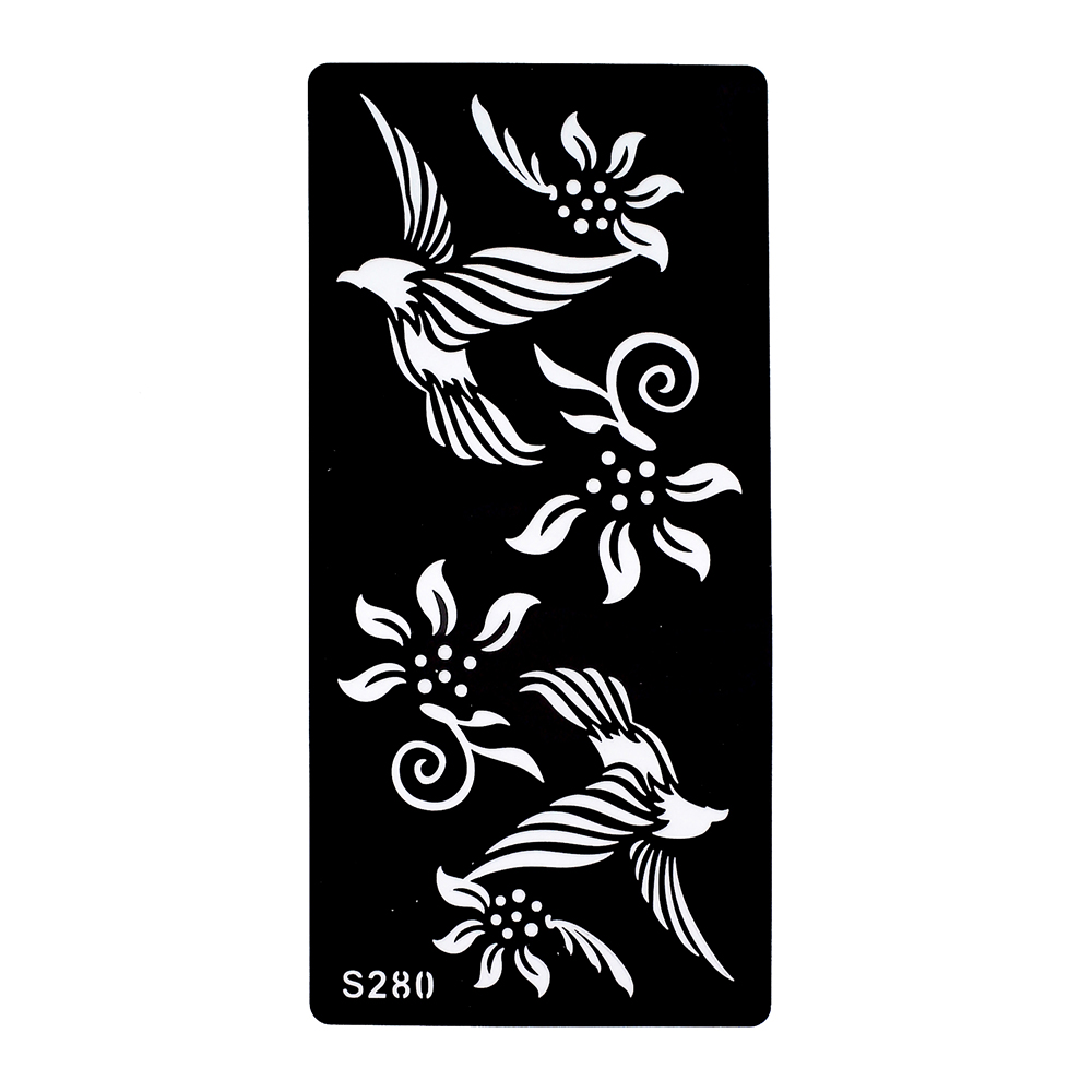 US $0 79 |1 Piece Black Henna Tattoo Stencil Beauty Flower Eagle Airbrush  Painting Women Arm Art Indian Henna Tattoo Template Product S280-in Tattoo