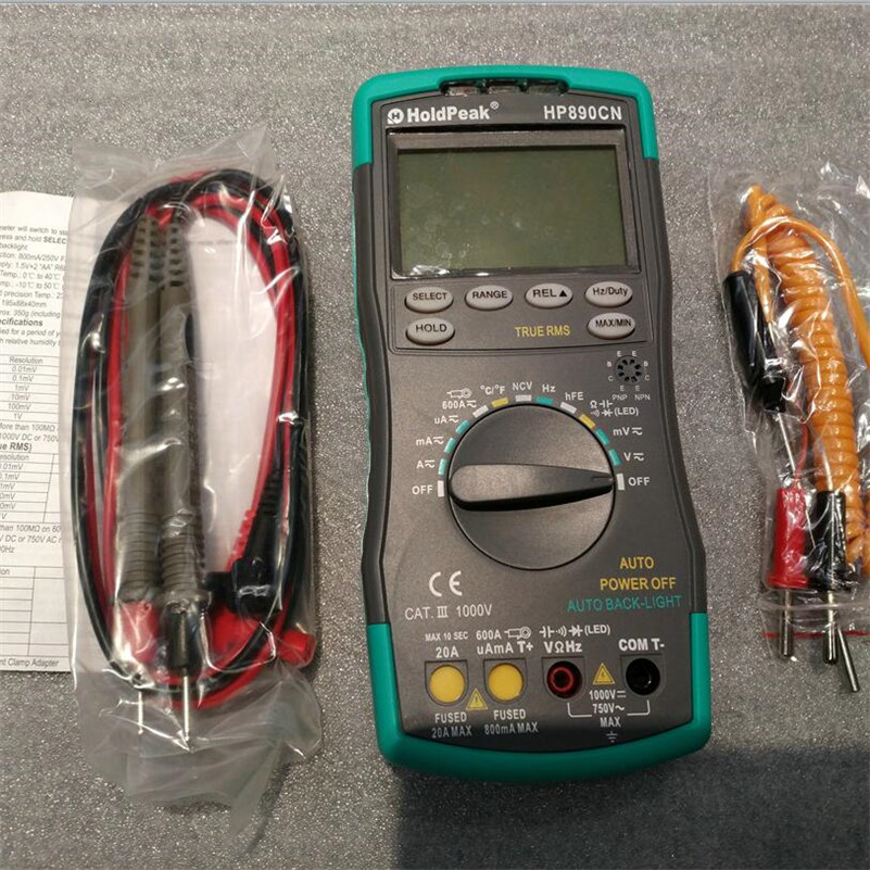 LCD Digital Multimeter DMM with NCV Detector DC AC Voltage Current Meter Resistance Diode Capacitance Tester HP-890CN holdpeak hp 90epc multimetro digital usb multimeter dmm auto range tester lcd ammeter capacitance meter pc data transmission
