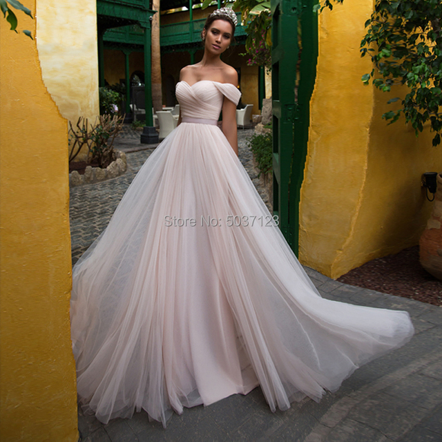 Pink Tulle Wedding Dresses with Sleeves 2021 Off Shoulder Sweetheart Lace Up Floor Length Wedding Bridal Gowns Vestido de noiva 2