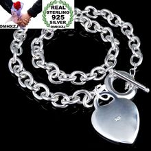 OMHXZJ Wholesale Personality Fashion Woman Gift Silver Heart Circle Chain 925 Sterling Silver Bracelet+Necklace Jewelry Set SE54 wholesale couples silver heart shape chain design bracelet h367