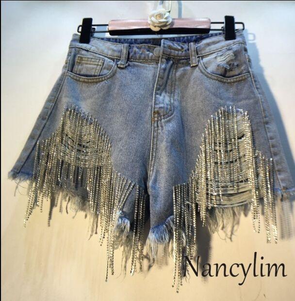 Summer Hot Pants Women European Style New Hand Diamond Bead Drill High Waist Slim Holes Jeans Shorts Girl Lady Beach Pants Femme