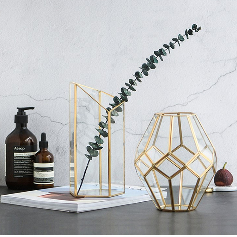 Nordic Creative Glass Vase Light Luxury Wind Phnom Penh Copper Geometry Flower Storage Tube Tide Decoration