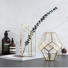 Nordic Creative Glass Vase Light Luxury Wind Phnom Penh Copper Geometry Flower Storage Tube Tide Decoration