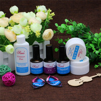 Nail Art 2XClear Transparent UV Gel + Cleanser Plus + Primer Base Coat + Top Coat + Desiccant For Manicure Tips Extension