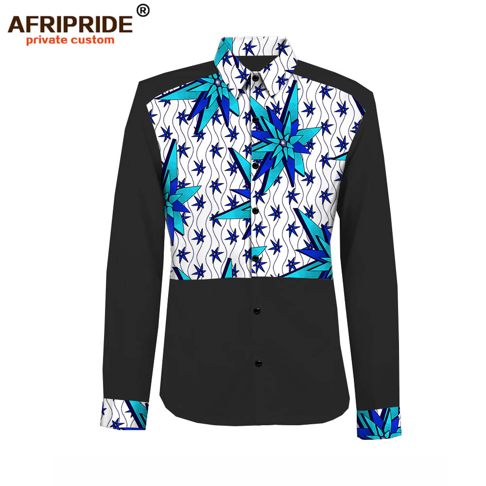 2019 Spring&autumn African Casual Shirt For Men AFRIPRIDE Tailor Made Full Sleeve Single Breasted Men's Cotton Shirt A1812007