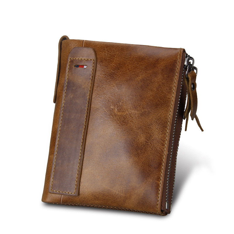 2018 Genuine Leather Men Wallet Crazy Horse Short Coin Purse Small Vintage Wallets Brand High Quality Cow Leather Male Wallet