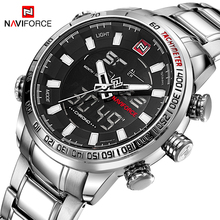 NAVIFORCE 인기 브랜드 남성 군용 스포츠 시계 Mens LED 아날로그 디지털 시계 남성 스테인레스 쿼츠 시계 Relogio Masculino 9093