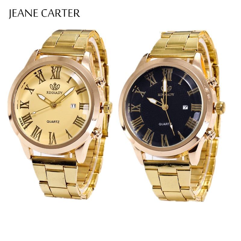 Big Dial Mens Watch Top Luxury Brand Watch Men Gold Full Steel Quartz Wrist Watches Calendar Watch Male Clocks Relogio Masculino