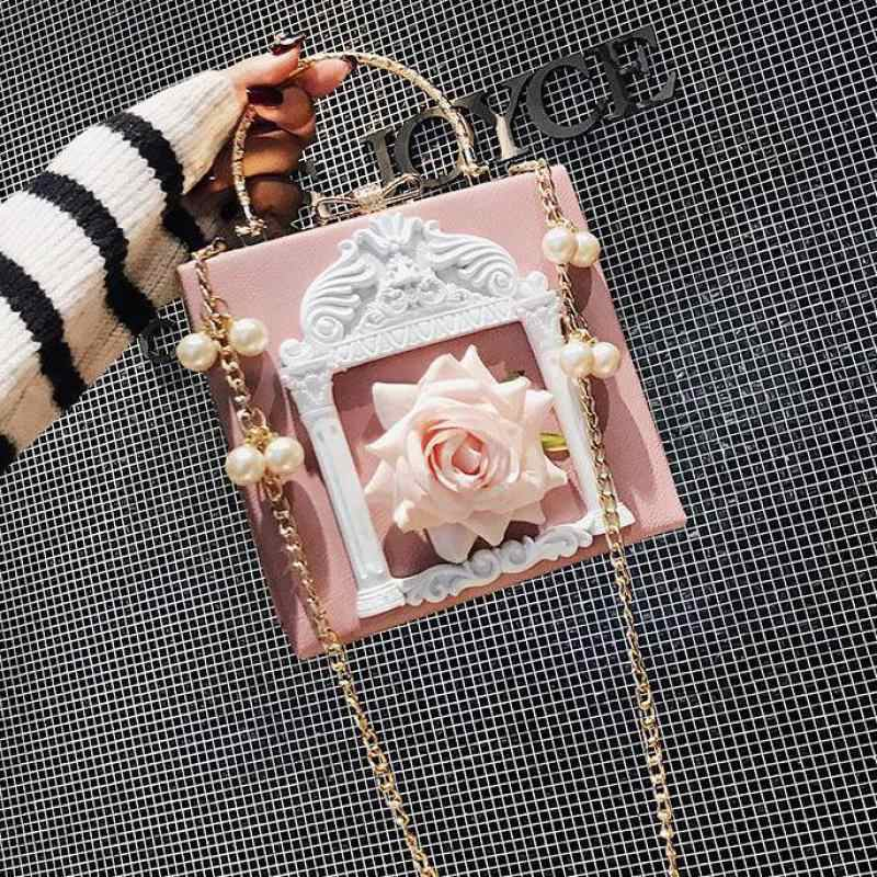Embossed Flower Women Shoulder Bag Fashion Pearl Chain Female  Pu Leather Messenger Bag Women's Handbag Lady Crossbody Bags A515