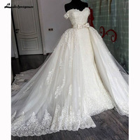 Lace Wedding Dresses Detachable Train Lace Appliques Off Shoulder Bow Bridal Dresses Robe De Mariage