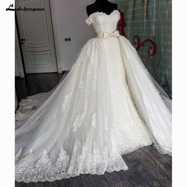Lace Wedding Dresses Detachable Train Lace Appliques Off Shoulder ...