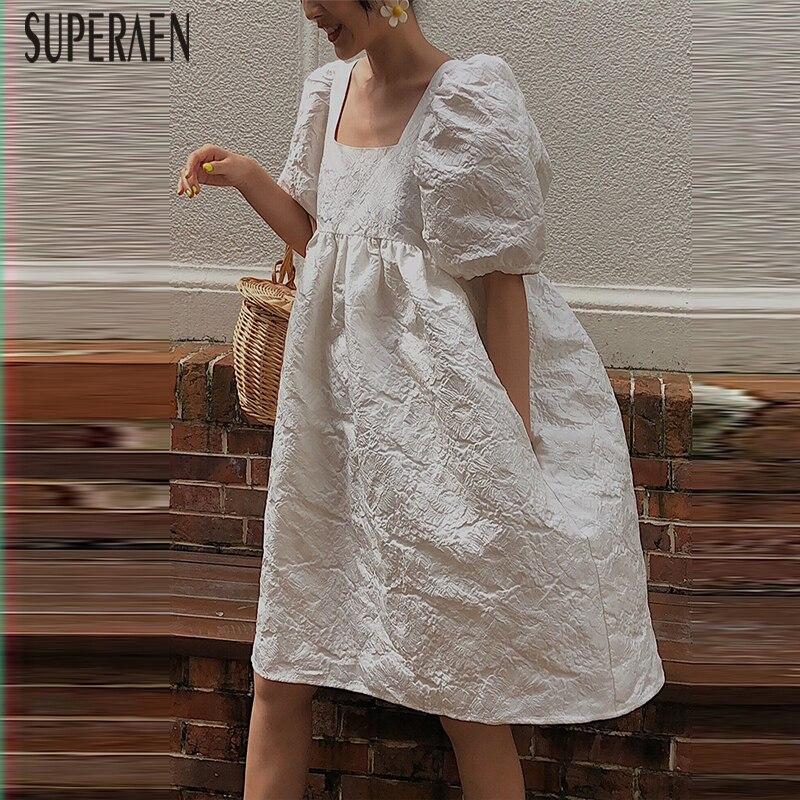 SuperAen robe à manches bouffantes femmes d'été nouveau 2019 coton mode dames robe col carré décontracté femmes vêtements