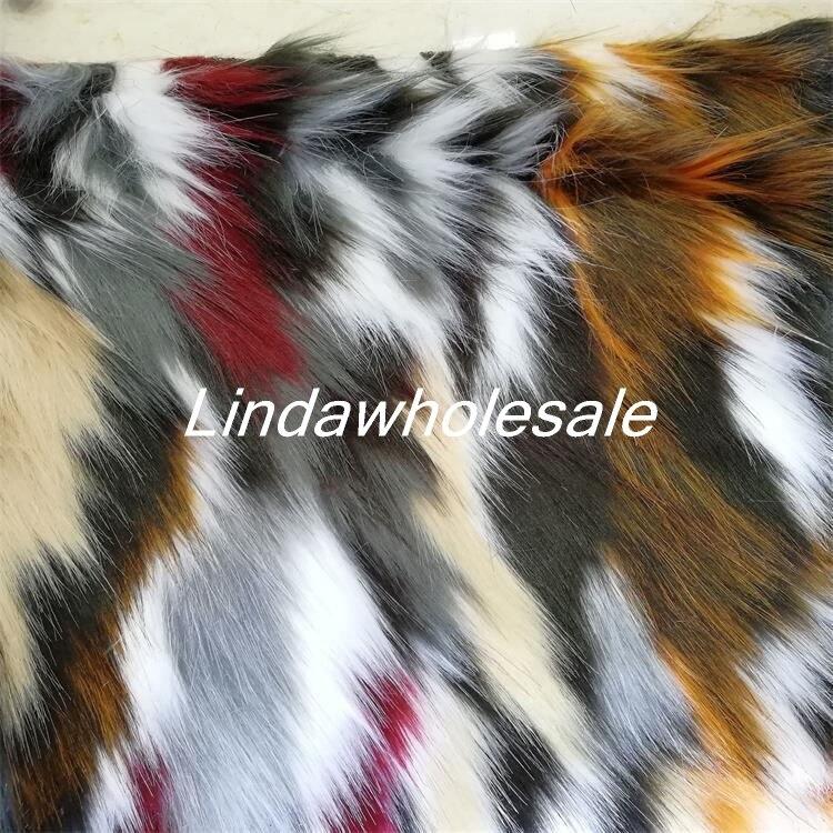 Multicolore jacquard peluche imitation fourrure de renard, vêtements fourrure col tapis décoratif mat matériel, 170 cm * 90 cm/pcs