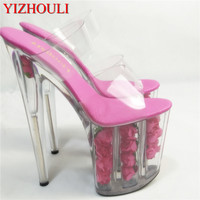 Sexy romantic rose crystal sandals, stage performance star photo album 20cm ultra high transparent dance shoes