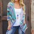 2017 Nueva Moda Otoño Prendas de Vestir Exteriores de Las Mujeres Suelta Rayado Impreso Cardigan de Maternidad Ocasional Primavera Patchwork Capa Del Suéter de Punto