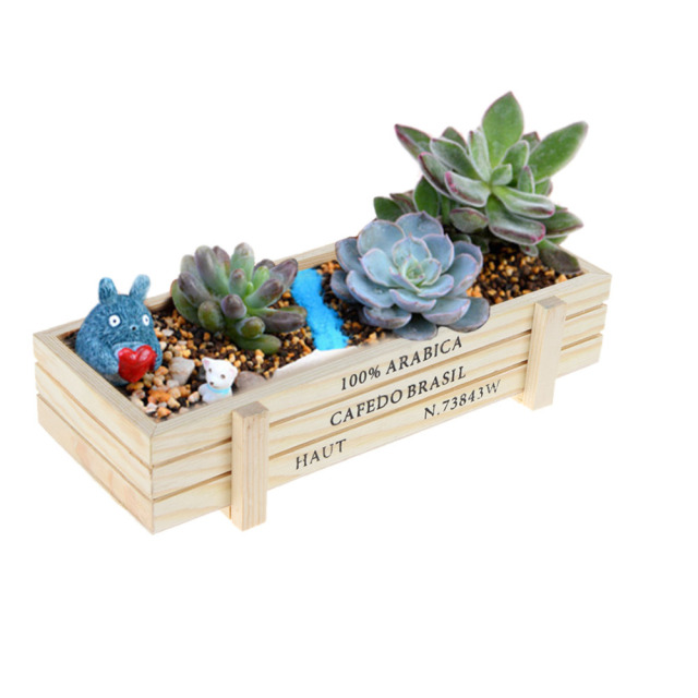 Retro Wooden Multifunctional Storage Desk Box Flower Bed Plant Bed Pot Flower Pots Planters Organizer Garden Home decoration