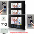 2v3 Waterproof(IP65) Fingerprint  700lines CCD Camera  Video DoorPhone Intercom System+7inch Color LCD!