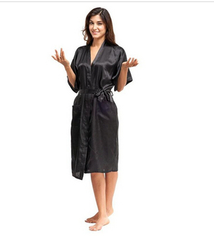 High Quality Black Women Silk Rayon Robe 1