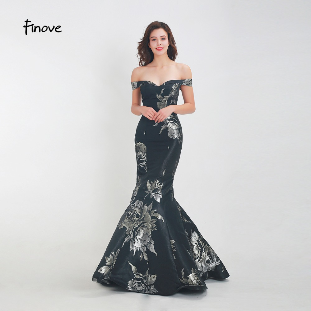 Finove Prom Dress 2019 Long New Elegant Mermaid Taffeta Simple Flower Pattern In Women Dresses Plus