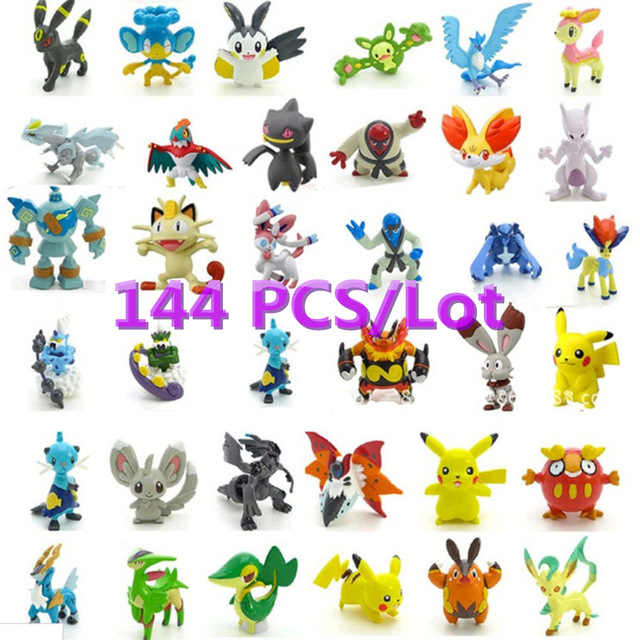 Free Shippinng 144pcs Pikachu Pokeball   2-3cm Different Style Mini  Cartoon Figure Pocket Monster Toys  Mixed Orders #E