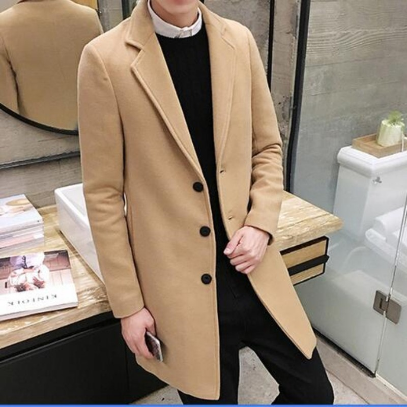 New Arrival Mens Fashion Slim Fit Trench Top Quality Long Windbreaker Wool Blend Casual Coats Man