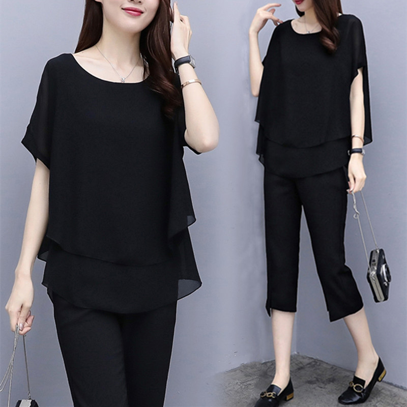 Black Red Summer Two Piece Sets Women Plus Size Short Sleeve Blouses And Cropped Pants Suits Casual Loose Women's Sets Clothing 33