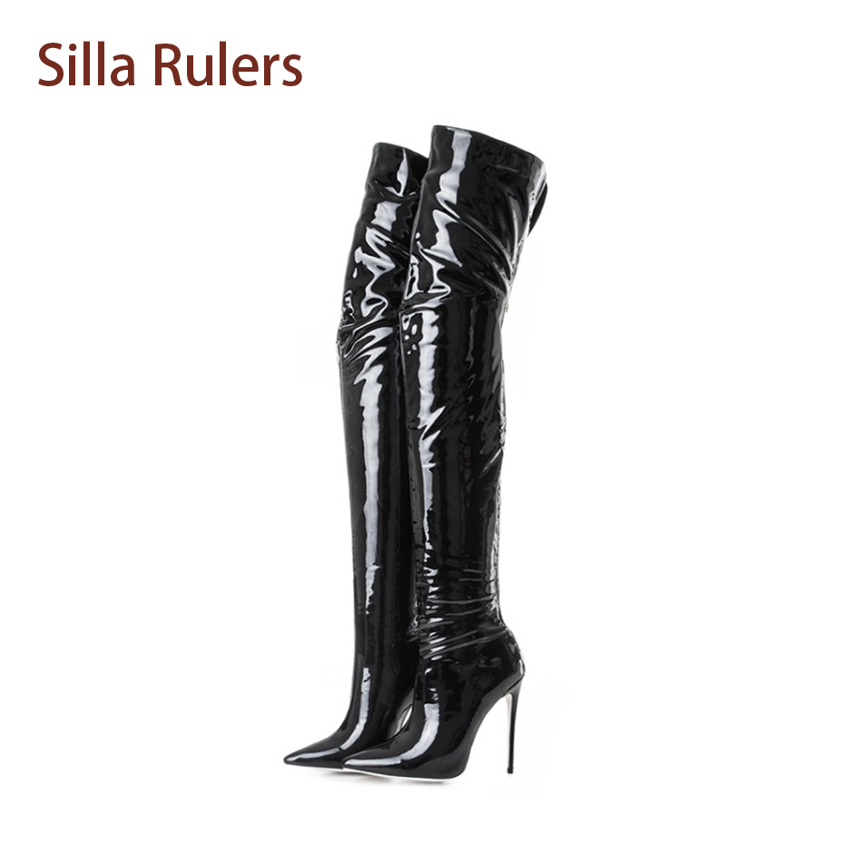 Silla Rulers Hot Sale 12cm Stretch Long Boots Pointed Toe Over-the-knee Boots Thin High Heel Women Fashion Women Tight High Boot