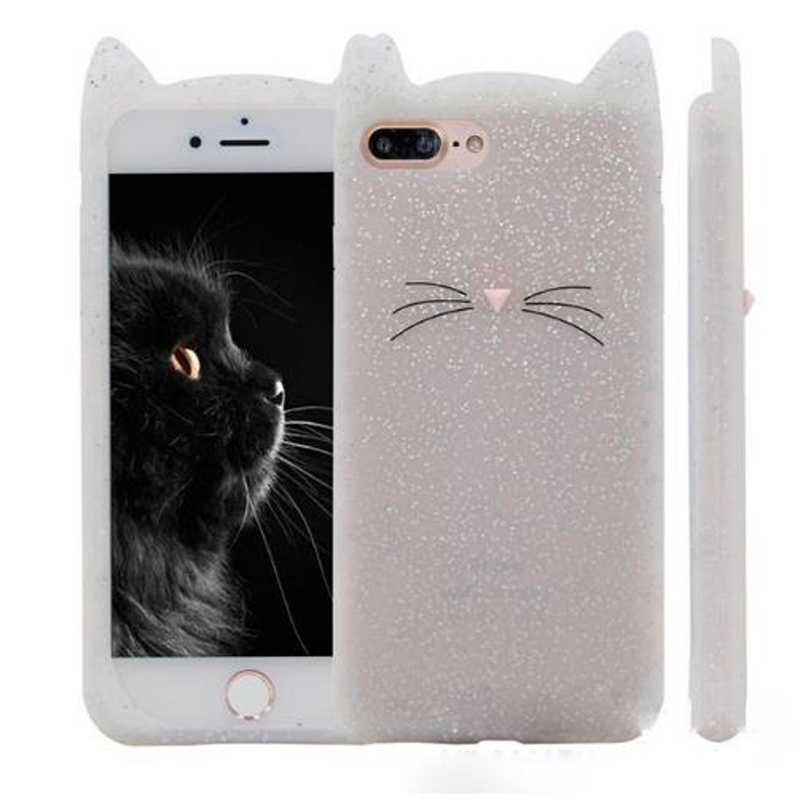 NEW 3D cute cartoon glitter For iphone 7Plus 6Plus beard cat Ears soft silicone case For iphone 5 5s se 6 6s 7 rubber Coque back