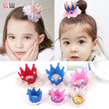 Hongjin lovely princess crown children hair girl baby duck clip gauze Korea pearl jewelry top chuck