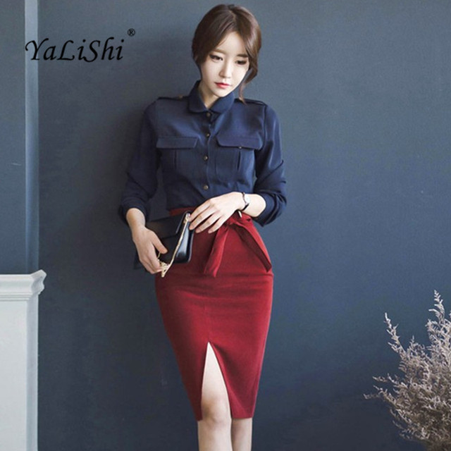 b72e93a635f7 2 Piece Set 2017 Women Suit Autumn OL Navy blue Long sleeves Blouse Shirt  Tops and Red Bow Pencil Skirts Crop Top and Skirt
