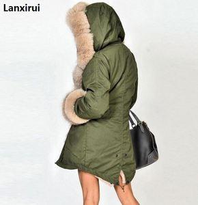 Image 5 - Plus size S 5XL casaco de inverno nova moda feminina com capuz casaco de pele do falso algodão velo feminino parkas hoodies casaco longo