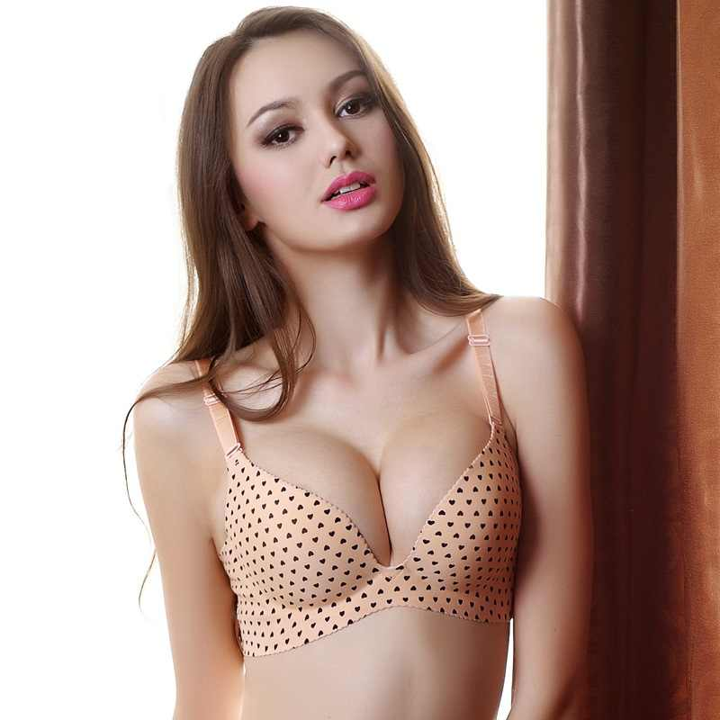 f8e2655696 One-piece Silky Fabric Polyester Heart Pattern Bralette Comfortable Sexy  Push Up Bra Wire Free
