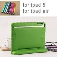 Новый падения противоударный чехол для Apple iPad воздуха 1 Чехол дети Безопасный EVA кремния для iPad 5 защитный чехол + Стилусы