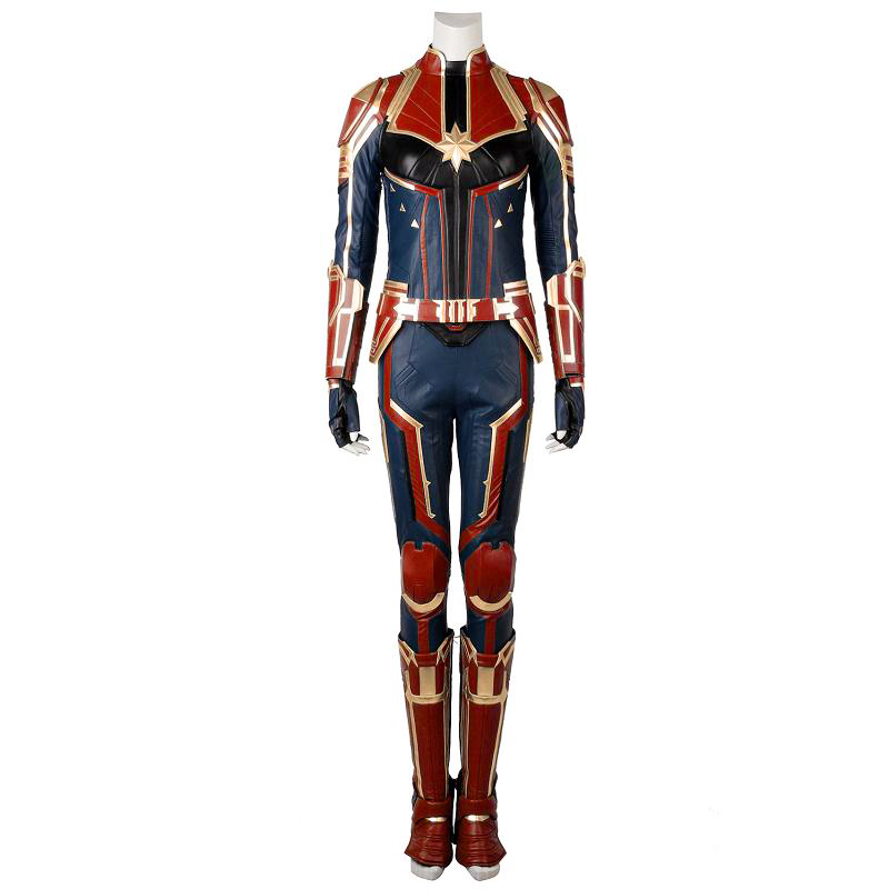In Stock Captain Marvel Cosplay Ms. Marvel Carol Danvers Costume Leather Jumpsuit Vest Props Adult Women Halloween Party Outfit