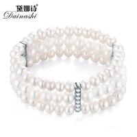 Noble Reine Gracieuse 279 Perles 3 Rangées Bracelet Wolesale Prix, 5-6mm AAAA Blanc Nearround Perle, AAA Zircon Pour Le Mariage Ou Partie