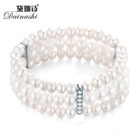 Noble Graceful Queen 279 Pearls 3 Rows Bracelet Wolesale Price, 5 6mm AAAA White Nearround Pearl,AAA Zircon For Wedding Or Party