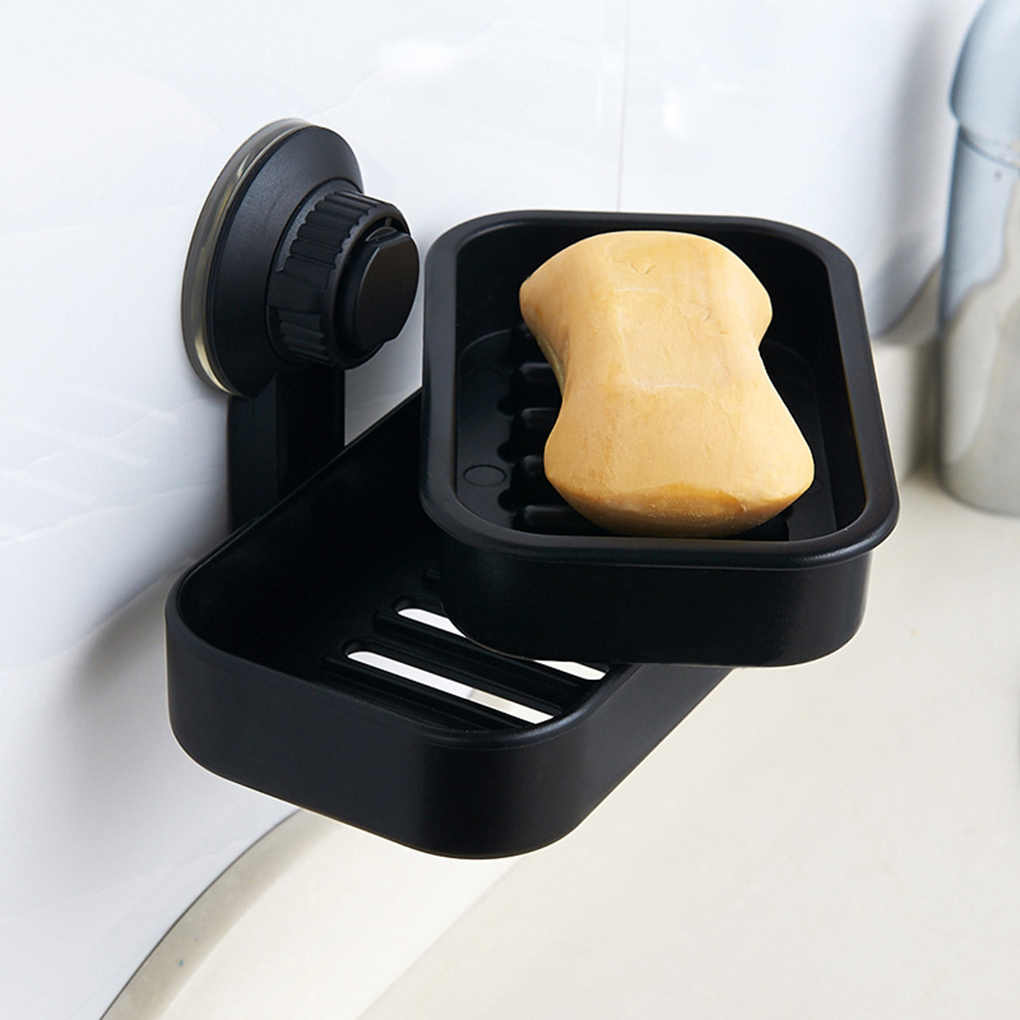 Plastic Soap Dish Suction Cup Box Wall-Mounted Rack Holder Draining Tray Bathroom