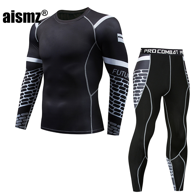 Aismz tactical fitness clothing mens compression fast-drying crossfit Tracksuit Men leggings MMA rashguard Moletom Masculino