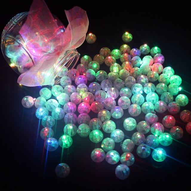 100 шт./лот круглый шар Светодиодные фары воздушный шар Мини Flash Лампы для мотоциклов Для Фонари Рождество Свадебная вечеринка украшения белый, желтый, розовый